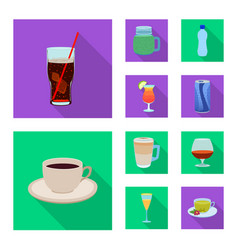 Isolated object of drink and bar icon collection vector