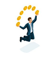 isometric businessman is happy to throw up coins vector image
