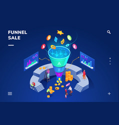 isometric room with sale funnel generating sales vector image