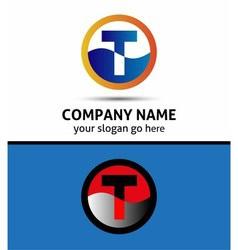 Letter T logo symbol template elements vector image