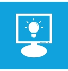 Light bulb monitor icon vector