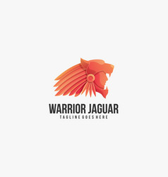 logo warrior with jaguar head gradient colorful vector image