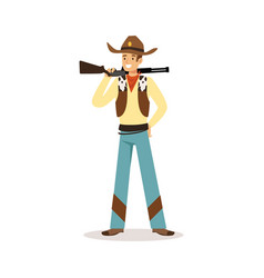 Man in american traditional costume with rifle vector