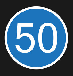 Minimum speed sign 50 flat icon vector