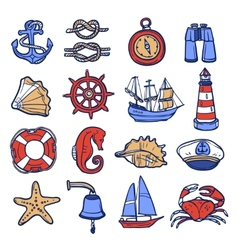 Nautical icon set vector