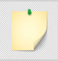 Note paper with shadow and pushpin on transparent vector