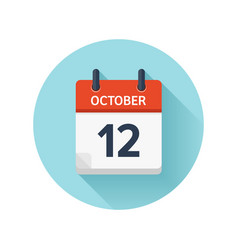 October 12 flat daily calendar icon date vector