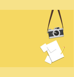 Old fashion vintage camera with paper vector