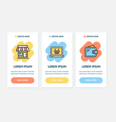 oneboarding app screens cards e-commerce set vector image