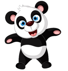 panda cartoon dancing vector image