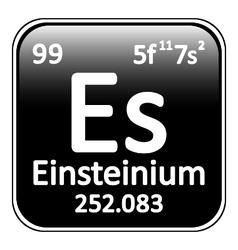 Periodic table element einsteinium icon vector