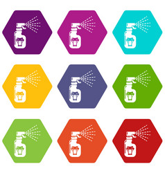 Pesticide icons set 9 vector
