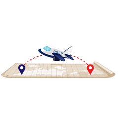 Plane flying to the destination vector