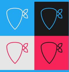 Pop art line cowboy bandana icon isolated on color vector