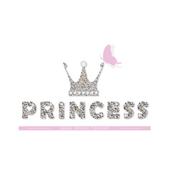 Princess for birthday baby shower clothes vector