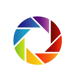 Rainbow colored photography shutter logo vector