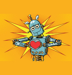 Robot lover with a red heart symbol of love vector