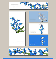 Scilla set with visitcards and greeting templates vector