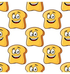 Seamless pattern of cartoon bread toast slices vector image