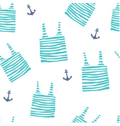 Seamless pattern with striped jerseys and anchor vector