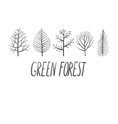 set doodle trees vector image