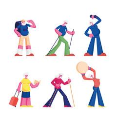 set elderly people workout with dumbbells vector image