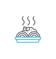 Spaghetti recipe linear icon concept spaghetti vector