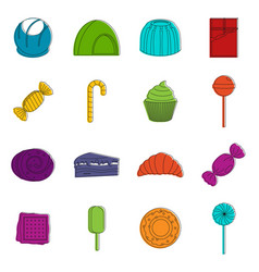 Sweets and candies icons doodle set vector