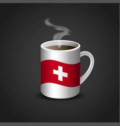 Switzerland flag printed on hot coffee cup vector