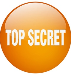 Top secret orange round gel isolated push button vector