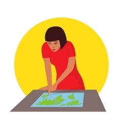Travelling concept Woman planning journey vector