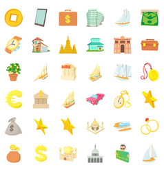 treasure icons set cartoon style vector image