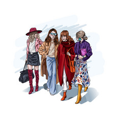 trendy women fashionable female friends walking vector image