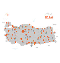 Turkey map with administrative divisions vector