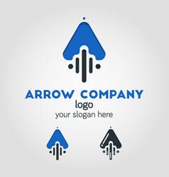 unique up arrow logo template using flat design vector image