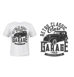 Vintage cars garage t-shirt print mockup vector