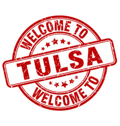 welcome to tulsa red round vintage stamp vector image