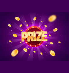 Win prize gold text on retro background vector