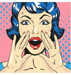 Woman screaming announcing news pop art comic vector