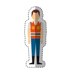 worker avatar with safety suit vector image