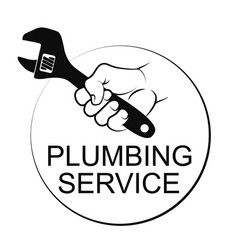 wrench in hand plumber service vector image