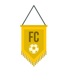 yellow pennant with soccer ball icon isolated vector image