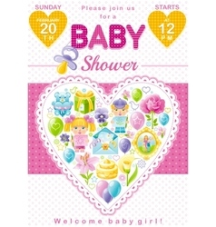 Baby shower invitation design in pink color for vector image vector image