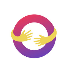 circle with hands logo template abstract business vector image