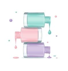 Colorful nail polish set dripping vector