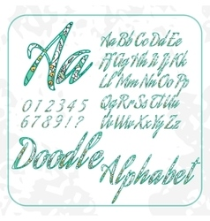 Doodle alphabet and numbers with floral pattern vector image