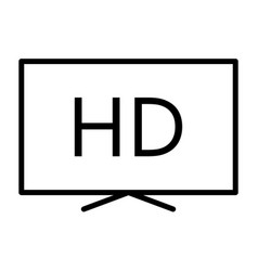 hd television line icon tv video symbol vector image