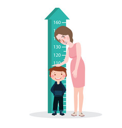 measure child kid height mother woman ruler meter vector image