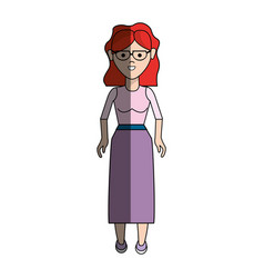 Nice woman with glasses blouse and long skirt vector