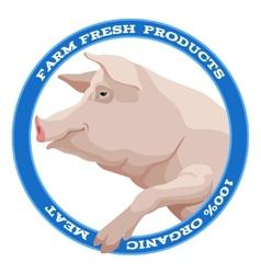 Pig label blue vector image